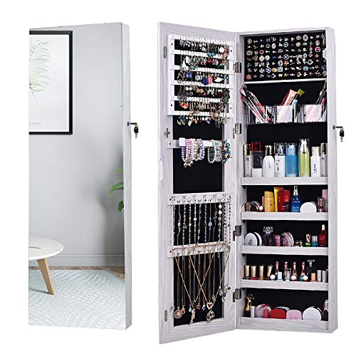 AOOU Jewelry Organizer Jewelry Cabinet,Full Screen Display View Larger Mirror, Full Length Mirror,Large Capacity Dressing Mirror Makeup Jewelry Armoire (White)…