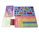 Stencils Kit for kids–7 Plastic stencils set for kids, Letter Stencil, Alphabet Stencils-Number Stencils, Spirograph for Flower Stencils, Stencils Shapes for children and toddlers+set of pencils(GIFT)