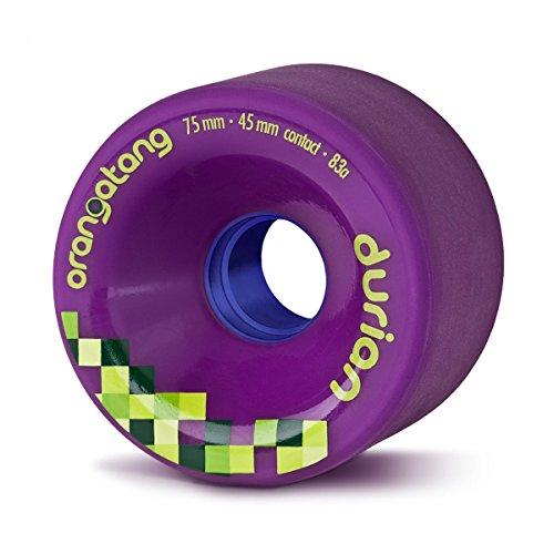 Orangatang Durian 75 mm 83a Freeride Longboard Skateboard Wheels w/Loaded Jehu V2 Bearings (Purple, Set of 4)