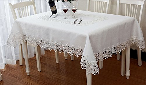 Amazon European Pure White Embroidered Tablecloth EdgeLace Living Room Coffee Table Tea Cloth Cover Dining Restaurant Tablecloths For