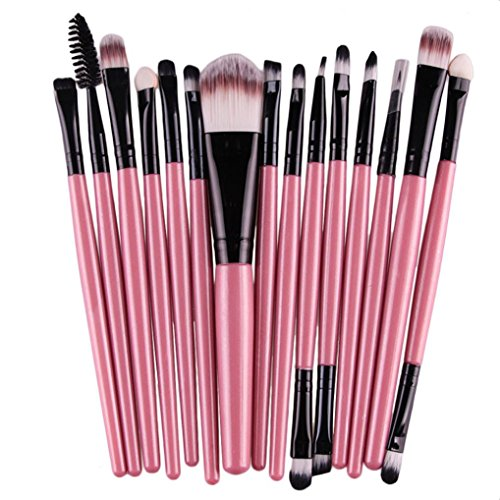 Voberry 15 Pcs Pro Makeup Set Powder Foundation Eyeshadow Eyeliner Lip Cosmetic Brushes (Pink)