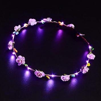 LED Blumenkranz Haarband Blumenkrone Blumen Kranz Stirnband Haarschmuck Party