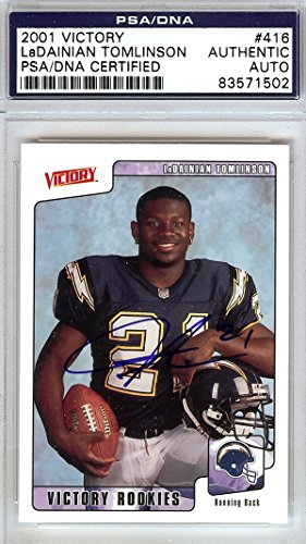 LaDainian Tomlinson Autographed 2001 Victory Rookie Card #416 San Diego Chargers PSA/DNA Stock #79445 (Stock Card Autographed)