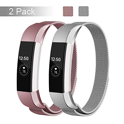 Fundro Replacement Bands Compatible with Alta HR and Alta, Stainless Steel Metal Bracelet Strap Replacement Wristband for Alta Women Men, 2 Pack(Rose Pink/Silver, Small)
