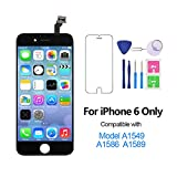 For iPhone 6 Screen Replacement 4.7'', LCD Digitizer Touch Display Assembly Set Compatible with Model A1549, A1586, A1589, Free Repair Tool Kit (Black)