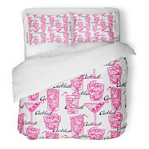 Semtomn Decor Duvet Cover Set Full/Queen Size Pink Party of Different Sketch Cocktails Retro Alcohol Bar 3 Piece Brushed Microfiber Fabric Print Bedding Set Cover ()