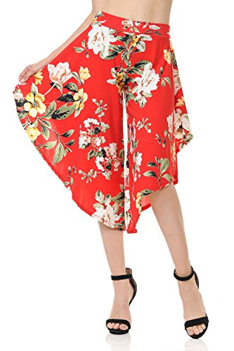 Ladybug Women's Layered Wide Leg Flowy Cropped Palazzo Pants, 3/4 Length High Waist Palazzo Wide Legs Capri Pants (2X, 1082-C Flower)