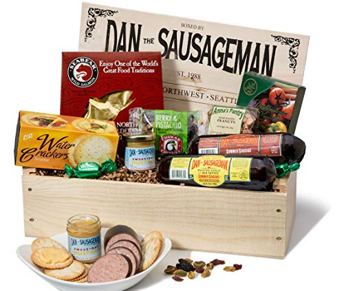 Gift Crate - Dan the Sausageman's Favorite Gourmet Gift Basket -Featuring Dan's Original Sausage, Seabear Salmon, 100% Wisconsin Cheeses, and Dan's Sweet Hot Mustard