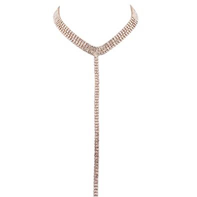 Rivertree Diamante Lariat Collar Necklace with Long Tail Body Chain For Women przppn3