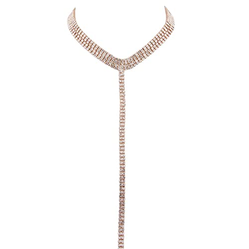 KUIYAI Bling Bling Wide Rhinestone Crystal Lariat Choker Necklace with Long Chain  Pendant for Women Girls ae5df9dfde7a