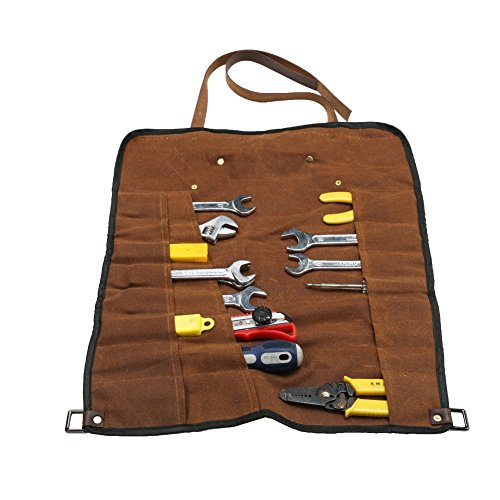 TUYU Wrench Roll Pouch 24 Pocket Tool Roll-Up Pouch, Heavey Duty 16Oz. Waxed Canvas-Waterproof, Durable for Woodworker, Ironworkers, Gardening, and Everyday Handyman BD0015 by TUYU