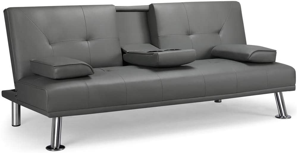 Yaheetech Futon Sofa Bed Faux Leather Futon Couch Sleeper Sofa with Cup Holders and Armrest Gray