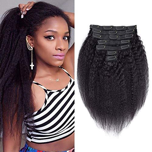 Brazilian Virgin Hair Kinkys Straight Clip In Hair Extensions 7pcs Kinky Straight Clip Ins For Black Women Human Hair Double Weft Coarse Yaki Clip In Human Hair Extensions Natural Color 12Inch 70g/set