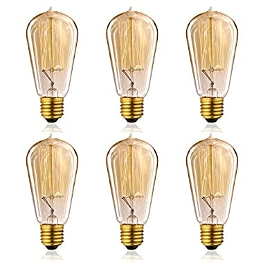 Homestia 60W 110V ST58 Teardrop Edison Vintage Squirrel Cage Filament Incandescent Light Bulb(6 Pack)