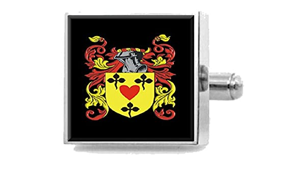 Select Gifts Harsley England Family Crest Surname Coat Of Arms Cufflinks Personalised Case