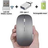 PEIBO Mouse inalámbrico Recargable para computadora de sobremesa para MacBook Pro MacBook Air MacBook Mac, Gris