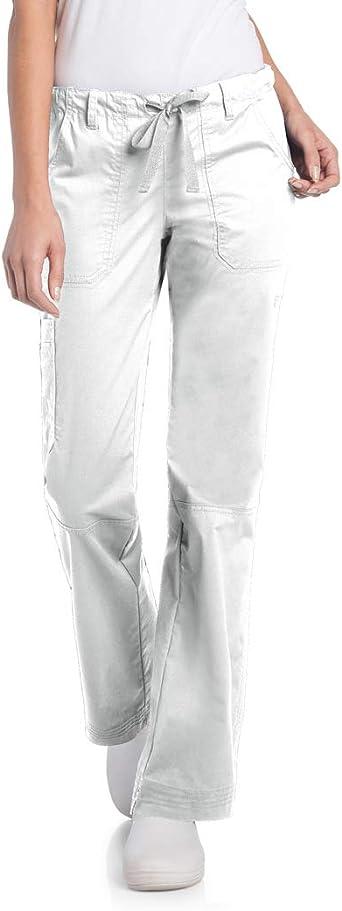 Landau Women's 5-Pocket Elastic Waist Drawstring Cargo Stretch Scrub Pant, White, X-Small Petite