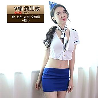 Roleeplay Lencería Sexy Conjunto Uniforme, de Gran tamaño Bolsa Nalgas Mujer Policía,V Principales Vientre Style [XL] - azafata no Contiene Calcetines: ...