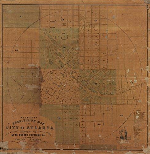 Map: 1850 Vincent's Subdivision of The City of Atlanta, Dekalb County, State of Georgia : Showing All The Lots, Blocks, Sections, c|Atlanta|Atlanta Ga|Georgia| (Atlanta Ga Furniture)