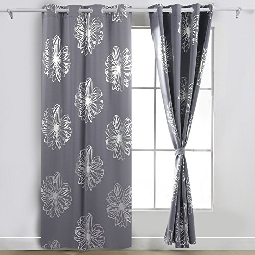 Deconovo Eyelet Curtains Ready Made Foil Print Floral Thermal Insulated Ring Top Blackout Curtains for Kids Bedroom with Two Tie Backs 46 x 90 Drop Pink 1...