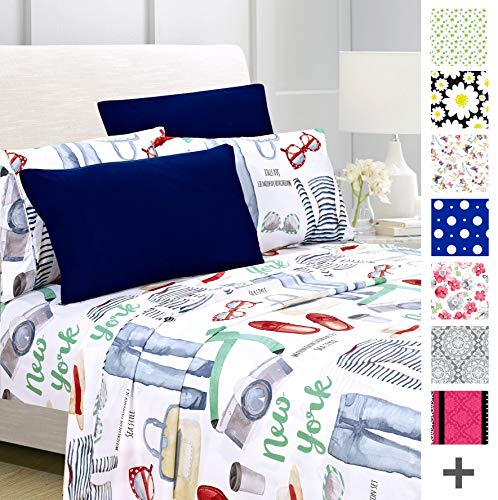 American Home Collection Deluxe 6 Piece Printed Sheet Set Highest Quality Of Brushed Fabric, Deep Pocket Wrinkle Resistant - Hypoallergenic (Twin, Blue Urban Element) Deluxe Twin Bedding Set