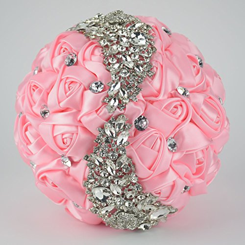 Ziye Shop Handmade Romantic Diamond Pearl Rhinestone Brooch Bridal Artificial Wedding Bouquet of Flower (Pink)