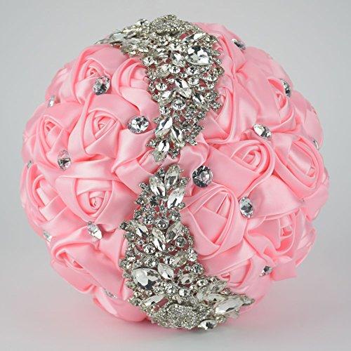 Ziye Shop Handmade Romantic Diamond Pearl Rhinestone Brooch Bridal Artificial Wedding Bouquet of Flower (Pink)