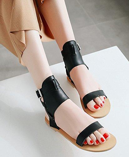 Fille Sandales Bout Université Ajourer Noir Boucle Femme Aisun Ouvert Mode xqnwI0W8f