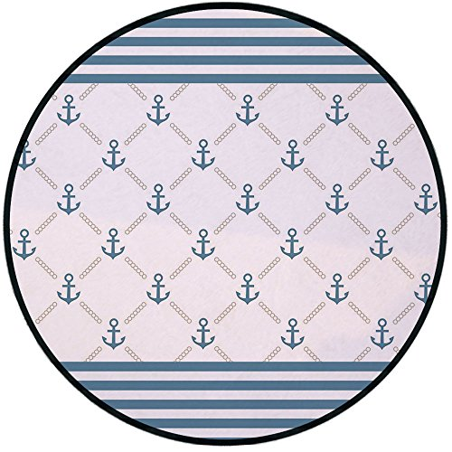 (Printing Round Rug,Anchor,Blue Stripes Frame with Abstract Stripes and Chain Figures Symmetrical Pattern Decorative Mat Non-Slip Soft Entrance Mat Door Floor Rug Area Rug For Chair Living Room,Pale Bl)
