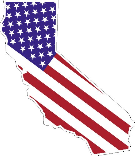 """6"""" STATE OF CALIFORNIA shaped american flag united states magnet great for car auto refridgerator tool box or any metal surface."""