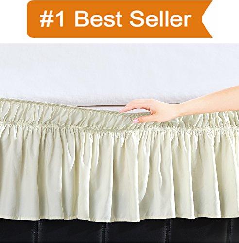 Elegant Comfort Luxury Wrinkle Resistant -Wrap Around Style- Elastic Bed Wrap Ruffled Bed Skirt 16inch Drop, Queen/King, Cream ()
