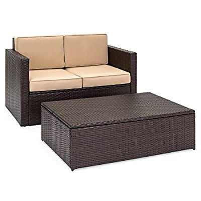 Best Choice Products 2-Piece Backyard Patio Wicker Conversation Furniture Set w/ 2 Hidden Storage Compartments in Loveseat & Coffee Table, Cushions - Brown