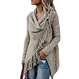 Rambling Women Cardigan Shawl Tassel Slash Irregular Hem Cowl Neck Pullover Outwear Coat
