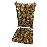 Barnett Products Woodlands Forest Floor Rocking Chair Cushions - Size Extra-Large - Seat Cushion and Back Rest - Latex Foam Fill (Oak Leaves/Acorns / Pine Cones)