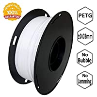 NovaMaker 3D Printer filament - White 1.75mm PETG Filament, PETG 1kg(2.2lbs), Dimensional Accuracy +/- 0.03mm by NovaMaker