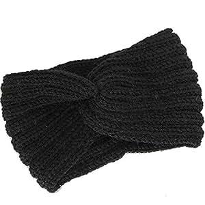 ESUPPORT Warm Headband Women Winter Knit Wool Classic Stretch Sport Head Wrap for Girl Ear Warmer, Black