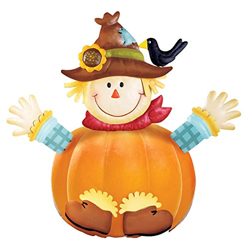 Collections Etc Fall Scarecrow with Crow Pumpkin Poke-Ins