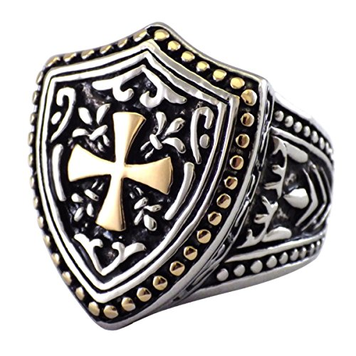 Fantasy Forge Jewelry Mens Maltese Cross Knights Templar Shield Cross Ring Stainless Steel Size 10 Maltese Cross Mens Ring