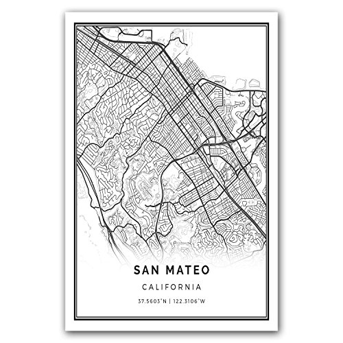 San Mateo map poster print | Modern black and white wall art | Scandinavian home decor | California City prints artwork | Fine art posters 20x30 ()