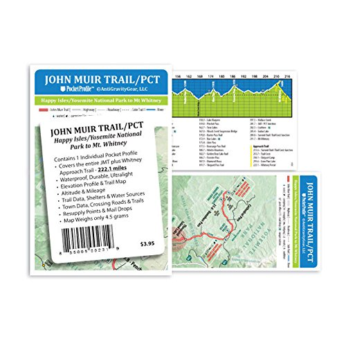 John Muir Trail / PCT Pocket Profile Map by Antigravity Gear