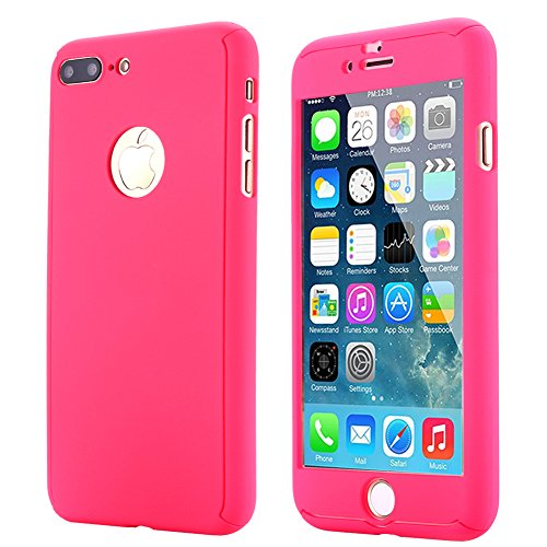 iPhone 7 Plus Case,AICase Ultra Thin Full Body Coverage Protection Soft PC [Dual Layer][Slim Fit] Case with Tempered Glass Screen Protector for iPhone 7 Plus (Rose)