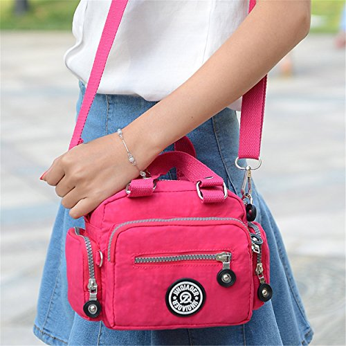 Water Bag Chou Cross Body Handbag Nylon for Mini amp; Women Tiny Girls Resistant Azure Shoulder Color Solid wPIwqf