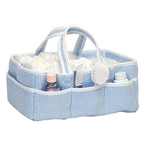 Gingham Seersucker Blue Baby Storage Nursery Caddy Diaper Organizer, Pet Supplies, (Gingham Baby Blanket)