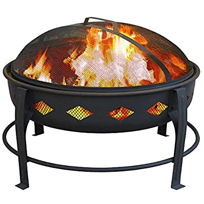 Landmann USA 21860 Bromley Fire Pit, Black - 7 inch deep fire bowl keeps wood contained Diamond cutouts enhance the fire Decorative legs - patio, outdoor-decor, fire-pits-outdoor-fireplaces - 51RVaVvfKkL. SS400  -