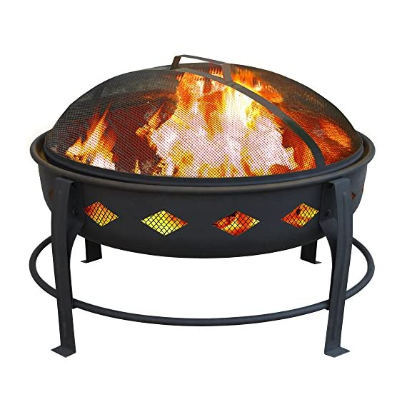 Landmann USA 21860 Bromley Fire Pit, Black - 7 inch deep fire bowl keeps wood contained Diamond cutouts enhance the fire Decorative legs - patio, outdoor-decor, fire-pits-outdoor-fireplaces - 51RVaVvfKkL. SS570  -