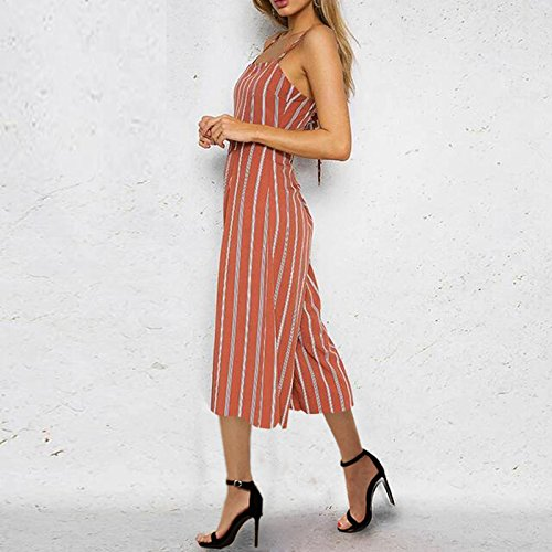 ALAIX Womens Sexy Jumpsuits Spaghetti Strap Stripe Overalls Lace up Romper Bandage Jumpsuit