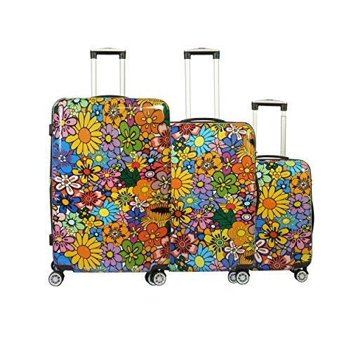 Unibest Flower Print Hardside Luggage   8 Wheel Spinner with Built-in Lock and Durable Shell Suitcase