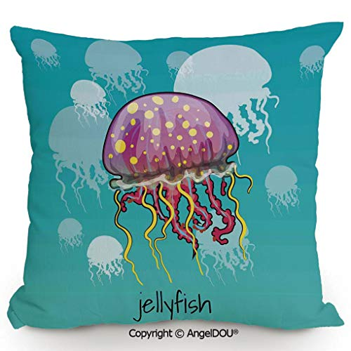 (AngelDOU Back Cushion Nice Throw Pillow,Color Spotted Jellyfish on Aqua Background Silhouettes Decorating Art Nature,Sofa Bed Head Waist Pillow Back car Waist pad.19.6x19.6 inches)