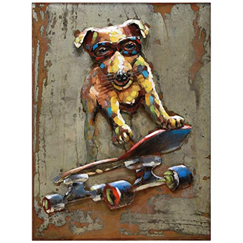 Empire Art Direct Dog on Skateboard Metal, Hand Painted Primo Mixed Media Iron Sculpture, Decor,Ready to Hang,Living Room, Bedroom & Office 3D Wall Art 30 in. x 2.8 in. x 40 in. Multicolor