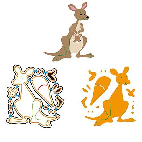 Zzeroe Cutting Dies Halloween Animal Pumpkin Embossing Stencil Template Mould for DIY Scrapbook Photo Album Embossing Craft Decoration Paper Card Making(2 Kangaroos) -